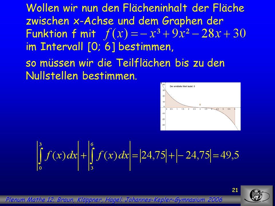Wollen wir nun den Flächeninhalt der Fläche zwischen x-Achse und dem Graphen der Funktion f mit im Intervall [0; 6] bestimmen,